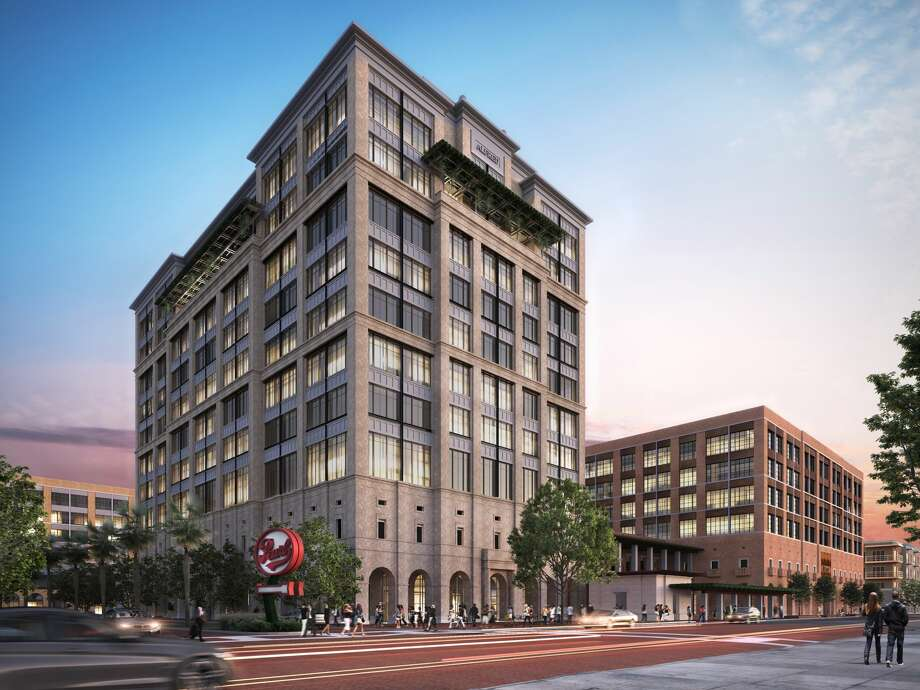Renderings show 10-story and 6-story office and retail buildings planned for the Pearl Brewery area ahead of a Dec. 21 city vote. Photo: Silver Ventures