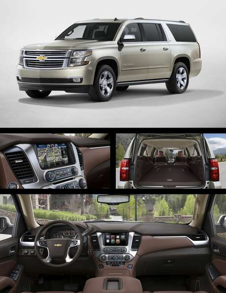 (clockwise from top) The 2017 Chevrolet Suburban sports the same streamlined exterior as recent models, shedding the series traditional curves. Fold-down seating in the second and third rows provide the Suburban with ample space for gear. Leather interiors in a rich brown give the inside of the Suburban a refined look. The Apple CarPlay-compatible panel brings your favorite features from your iPhone to your Suburbans touch screen, offering high-level functionality without sacrificing simplicity. Photo: Chevrolet