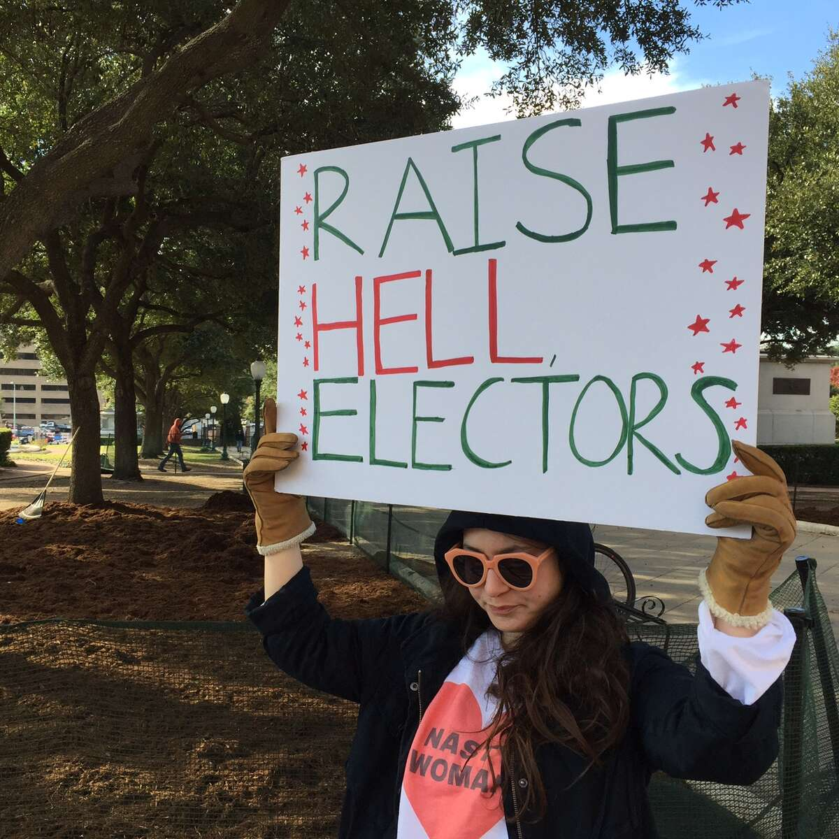 Hundreds of protesters rally at the Texas State Capitol to encourage members of the Electoral College vote against President-Elect Trump.