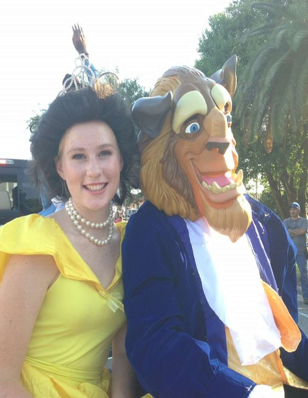 """Alvin High School students Suzanne Finger and Ben Miller dress as their characters Belle and the beast. The high schoolÂ?'s dance, choir, music, band and theater departments are presenting the musical Â?""""Beauty and the Beast,Â?"""" based on the Disney animated film, Jan. 26-29."""