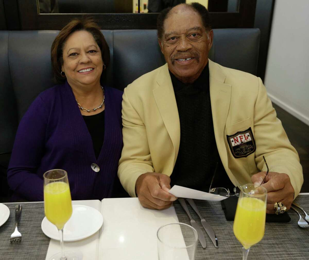 Pat Bethea and Elvin Bethea are shown at Third Coast, during Brunch Off, a preview party for the Taste of the NFL, one of the Super Bowl's major fundraisers. Bethea played his entire career with the Houston Oilers and is in the Pro Football Hall of Fame.