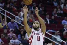 Rockets guard Eric Gordon hits a 3-point shot during the second half against the Brooklyn Nets on Dec. 12, 2016, in Houston.