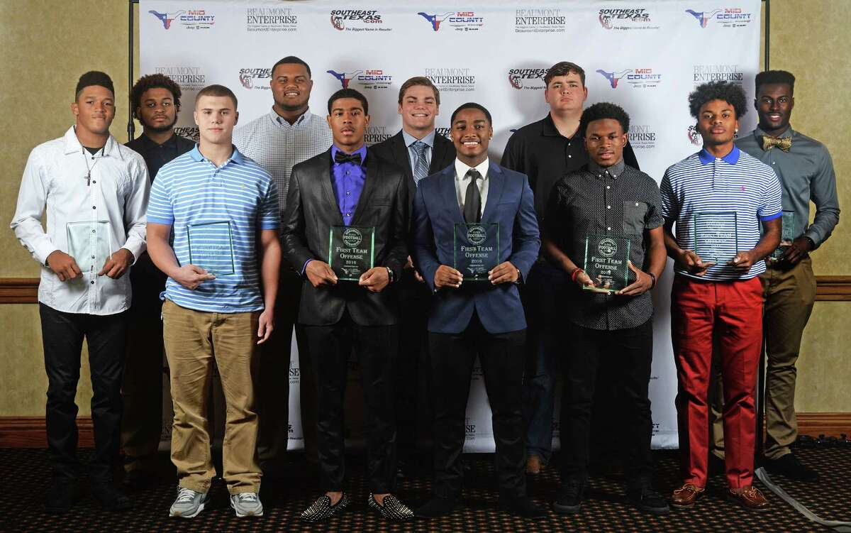 From left, Port Neches-Groves' Roschon Johnson, Ozen's DeJante Granger, Vidor's Brett Nunez, West Brook's Dan Moore, Central's Deshon Moreaux, Bridge City's Joseph Adams, Silsbee's Calvin Tyler, Nederland's Corbin Smith, Memorial's Elijah Hines, Legacy's Taydren Esprit and Port Neches-Groves' Keynel McZeal at the 2016 Beaumont Enterprise Super Gold banquet. The banquet was presented by Mid County Chrysler Dodge Jeep Ram. The annual event honors area athletes who excelled in their sport. Photo taken Wednesday, May 25, 2016 Guiseppe Barranco/The Enterprise