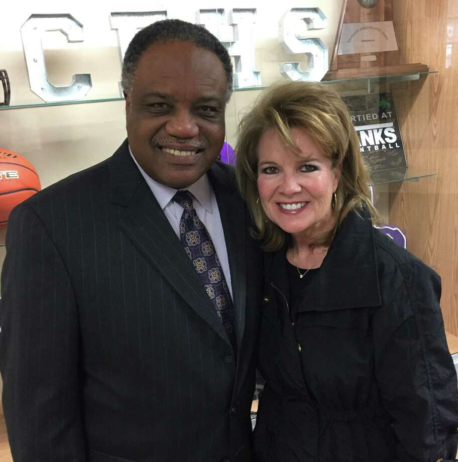 Firethorne Marketing Director Janet Burkett congratulated Lamar Consolidated ISD Superintendent Dr. Thomas Randle on the opening of the new Fulshear High and Leaman Junior High Schools after the dedication ceremony. Photo: Submitted