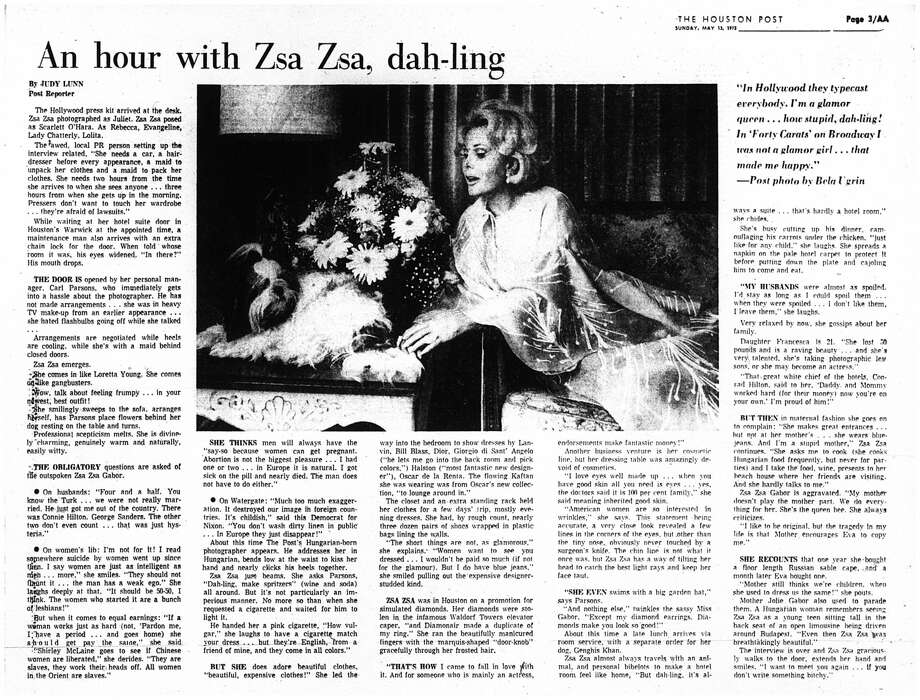 From the Houston Post, May 13, 1973: Reporter Judy Lunn spent an hour with Zsa Zsa Gabor. Photo: Houston Chronicle Archive
