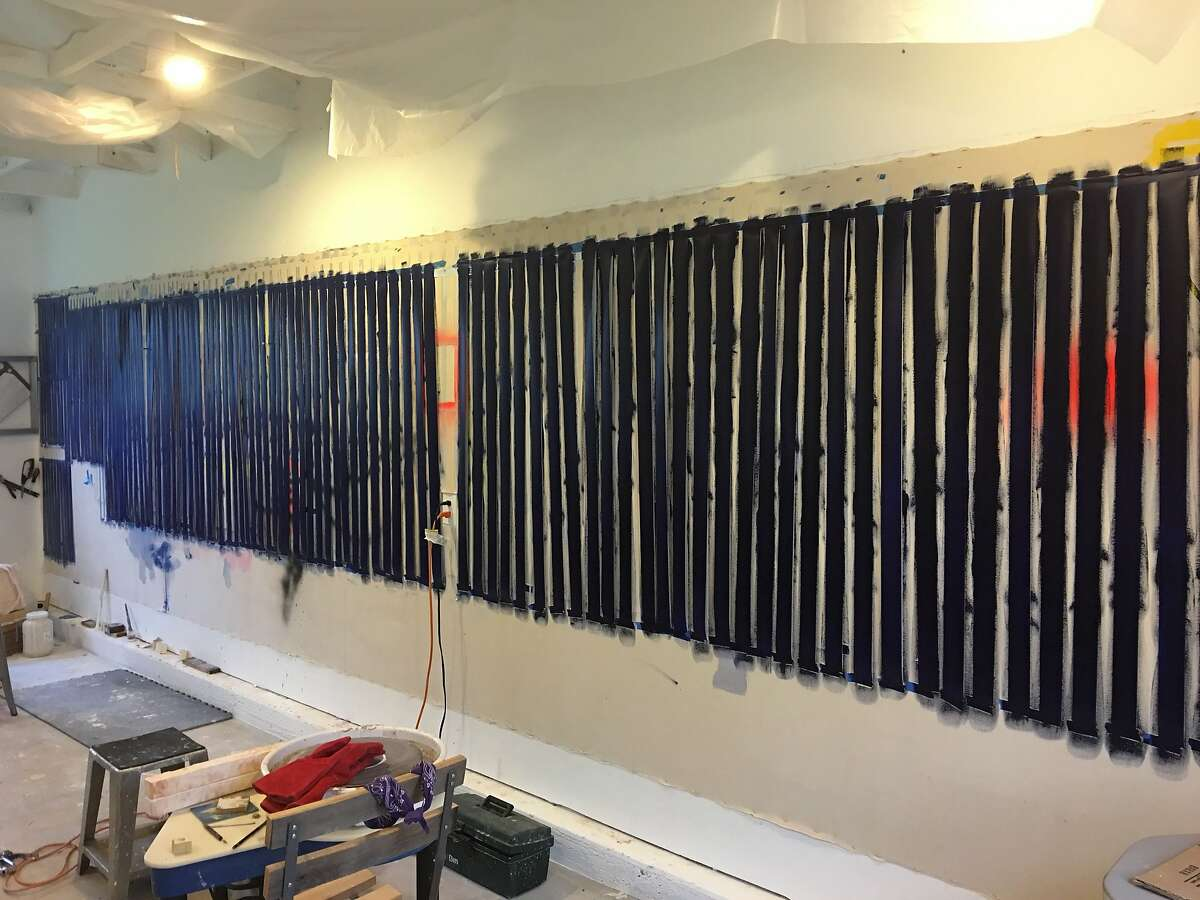 Strips of Dura-lar waiting to be woven into a sphere by Lisa Bartleson at her Petaluma studio