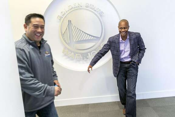 Right: David Kelly, the general counsel for the Golden State Warriors, is seen at the Warriors' facilities on Friday, Dec. 2, 2016 in Oakland, Calif.
