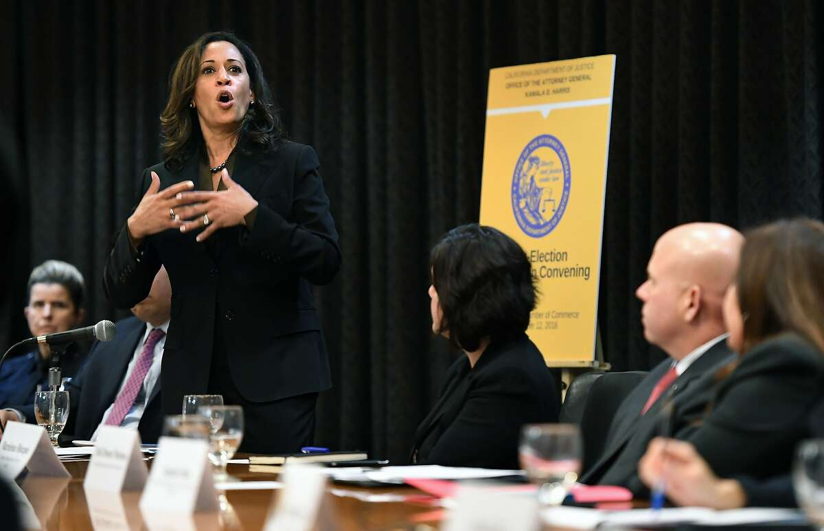 In this 2016 file photo, then-California Attorney General Kamala Harris speaks to immigrant rights advocates, community leaders, local law enforcement officials and members of the California legislature about working collaboratively on immigration.