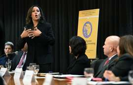 California Attorney General Kamala Harris speaks to immigrant rights advocates, community leaders, local law enforcement officials and members of the California legislature about working collaboratively on immigration on Monday, Dec. 12, 2016. (Wally Skalij/Los Angeles Times/TNS)