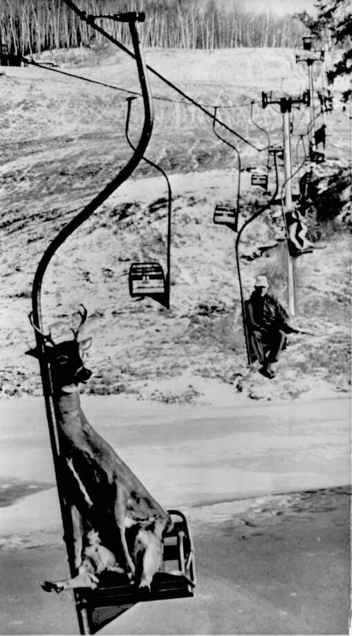 "Original caption: ""COMIN' DOWN THE MOUNTAIN -- This deer, along with others shot high up in the woods near Park Rapids, Minnesota, rides a ski chair lift with its adversaries after the hunt recently. The hunters had good luck in the vicinity of their camp near the top terminal of the lift. To get themselves and their kill down to their cars, they used this direct and easy method."" Dec. 5, 1965. AP photo Photo: AP"