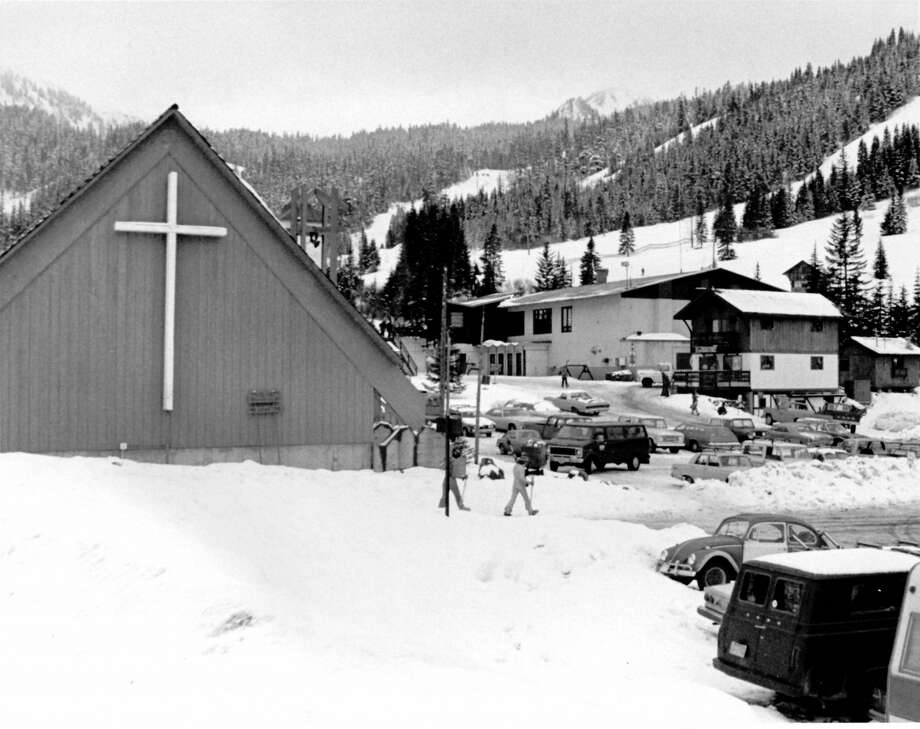 This uncredited photo shows the base area of Crystal Mountain Resort. Though it's dated Nov. 1 1979, it was likely taken during the 1978-1979 season. While little else in the photo looks the same today, the chapel (foreground left) still stands in roughly the same form as this photo. Photo: Archives