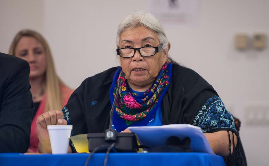 """Faith Spotted Eagle of the Yankton Sioux Tribe, pictured at the Inter-American Commission on Human Rights of the Organization of American States hearing on """"the impact of extractive industries and projects on the human rights of indigenous peoples."""" Photo: NICHOLAS KAMM/AFP/Getty Images"""
