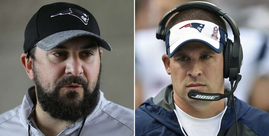 FILE - At left, in a July 27, 2016, file photo, New England Patriots defensive coordinator Matt Patricia takes questions from members of the media at Gillette Stadium in Foxborough, Mass. At right, in an Oct. 9, 2016, file photo, New England Patriots offensive coordinator Josh McDaniels walks on the sideline during an NFL football game against the Cleveland Browns, in Cleveland. Patriots coordinators Josh McDaniels and Matt Patricia have been considered among the best minds in football for a while now. The jobs they're doing this season _ their latest gems came in a 16-3 victory over the Broncos on Sunday _ have only bolstered their standing. (AP Photo/File) Photo: Associated Press