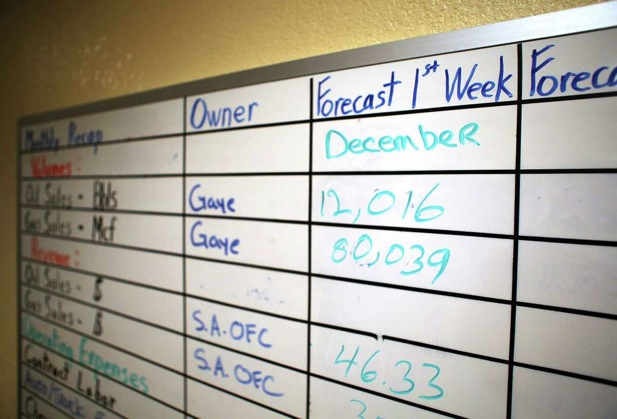 A board shows monthly goals inside the offices of Welder Exploration & Production, Inc., Tuesday, Dec. 6, 2016, in Beeville. The company has contracted from 15 employees at the Beeville office to just six in the past two years. ( Mark Mulligan / Houston Chronicle )