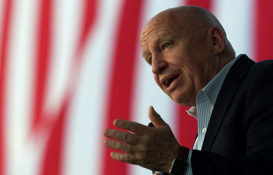 U.S. Rep. Kevin Brady, R-The Woodlands, talks about the importance of supporting troops through out their service during a Veterans Day celebration at Town Green Park Nov. 11  in The Woodlands. Photo: Jason Fochtman, Staff Photographer / Houston Chronicle