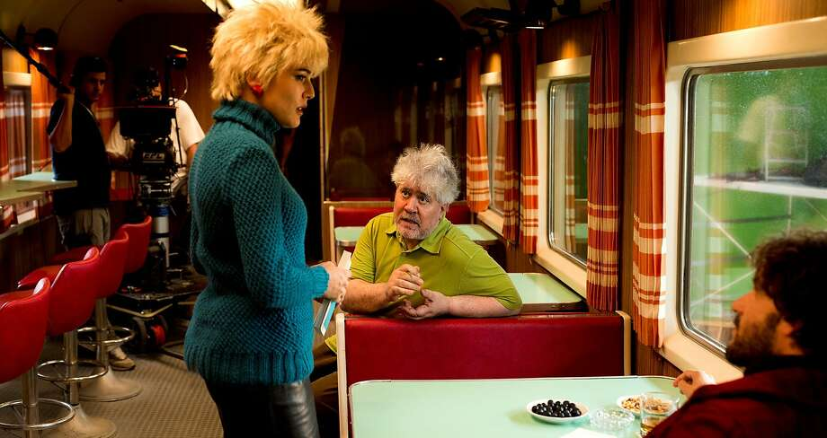 Pedro Almodóvar (center) directs Adriana Ugarte (left) in a scene from JULIETA. Photo: Sony Pictures Classics