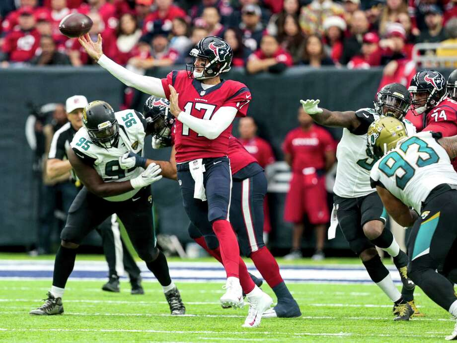 The last straw for Texans coach Bill O'Brien on Sunday was this Brock Osweiler pass, which was intercepted by Jaguars linebacker Telvin Smith for Osweiler's second pick of the game. Photo: Brett Coomer, Staff / © 2016 Houston Chronicle