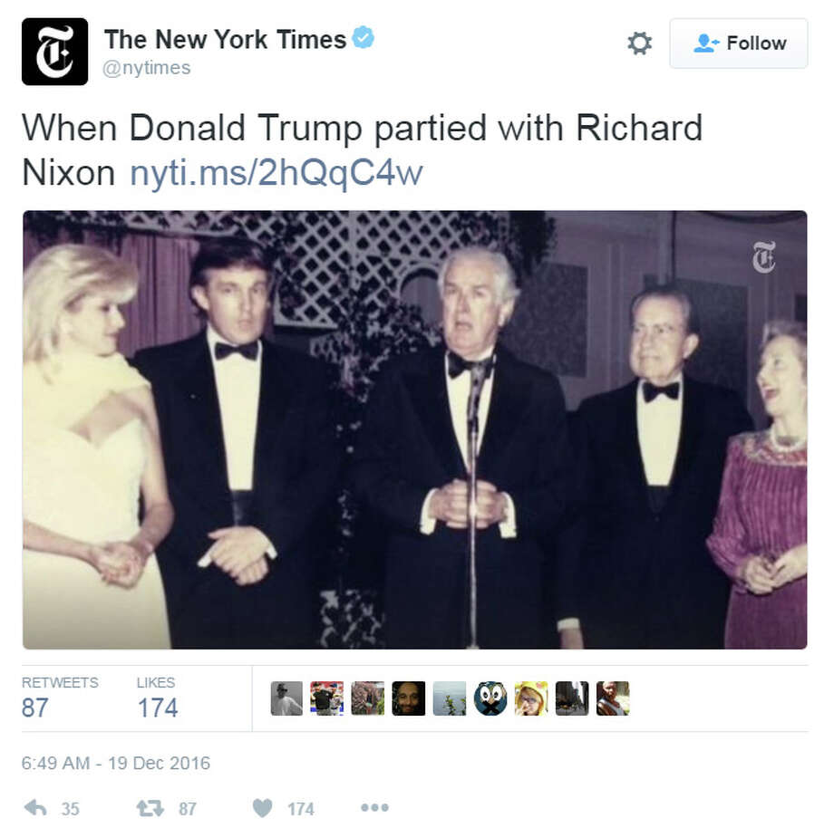 In 1989, real estate mogul Donald Trump and his then-wife, Ivana, attended a party in Houston with Texas Gov. John B. Connally, former President Richard Nixon, and Connally's wife, Nellie. (Twitter photo)