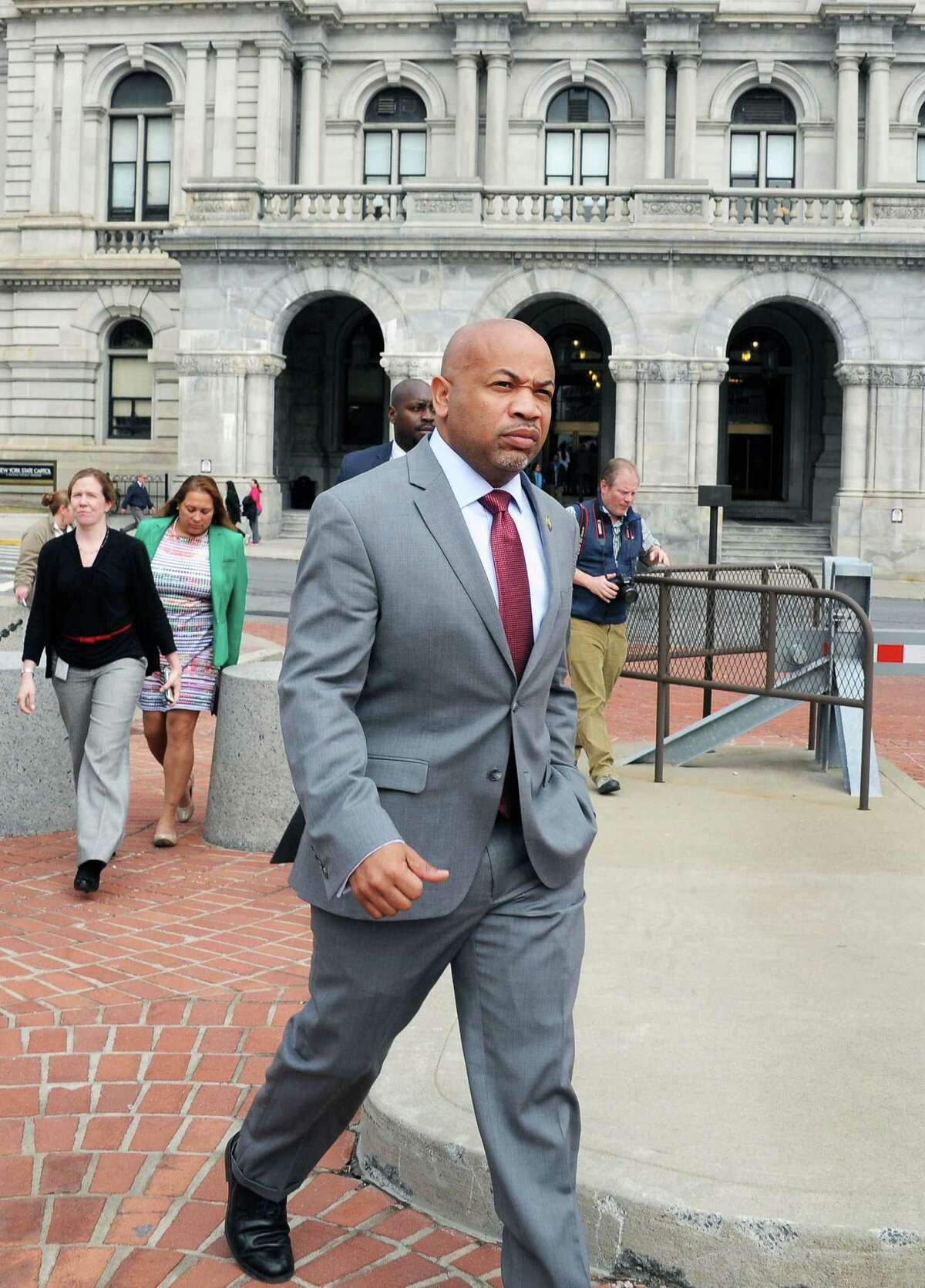Assembly Speaker Carl Heastie arrives at a raise the minimum wage rally on the Empire State PlazaTuesday March 15, 2016 in Albany, NY. (John Carl D'Annibale / Times Union)