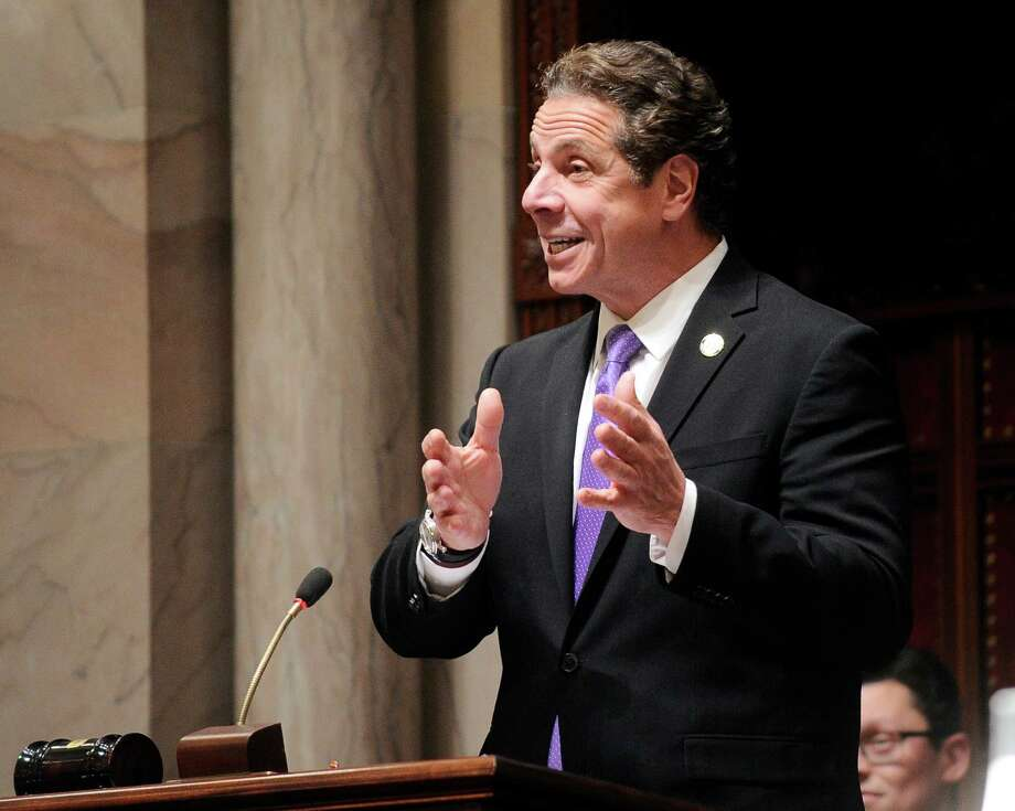 New York Gov. Andrew Cuomo speaks to members of New York state's Electoral College before voting for president in the Senate Chamber of the Capitol in Albany, N.Y., Monday, Dec. 19, 2016. (AP Photo/Hans Pennink via AP, Pool) ORG XMIT: NYHP110 Photo: Hans Pennink / Pool AP