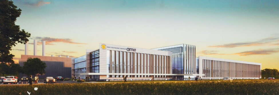 A rendering of the computer chip factory that SUNY Polytechnic Institute is building for AMS AG next to SUNY Poly's campus in the town of Marcy in Oneida County.