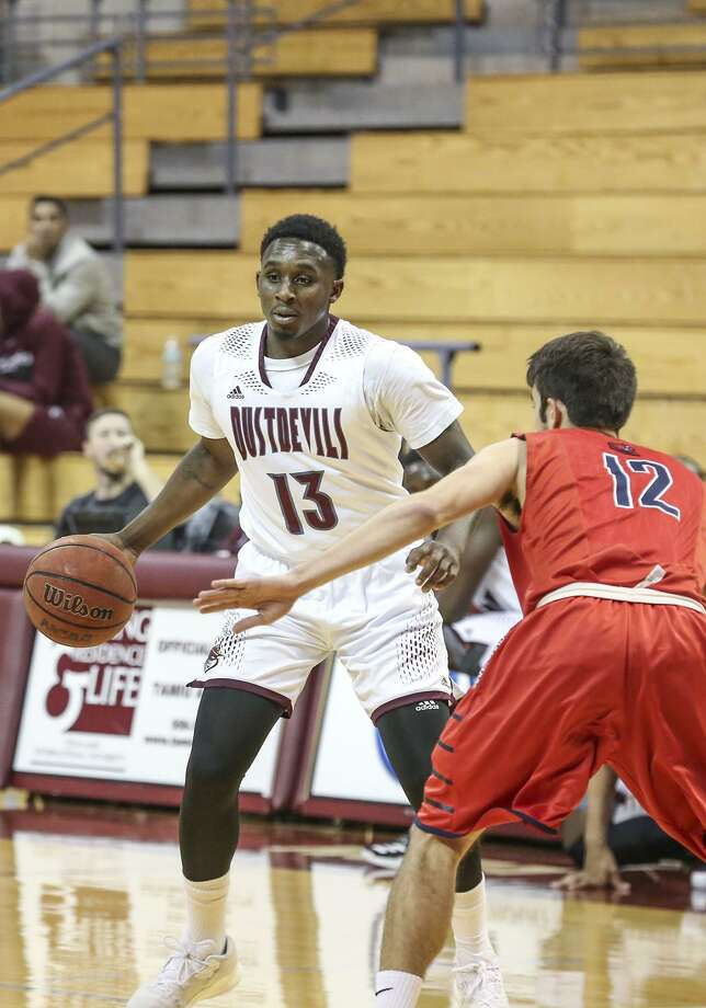 TAMIU guard Denzel Bellot finished with 16 points, six rebounds and four assists leading the Dustdevils to a 68-55 victory over defending Heartland Conference champion Rogers State Monday. Photo: Victor Strife /Laredo Morning Times