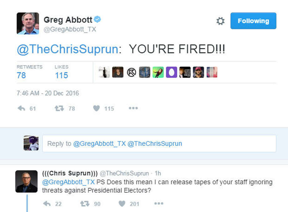 Texas Gov. Greg Abbott took to Twitter to attack a faithless electorTexas Gov. Greg Abbott took to Twitter on Tuesday to attack a member of the Electoral College who voted for Ohio Gov. John Kasich. Abbott's since-deleted tweet sparked a brief exchange with Chris Suprun, who cast the rogue ballot, and drew derision from some Twitter users. See more images from the Twitter battle between Abbott and Suprun. Photo: Twitter