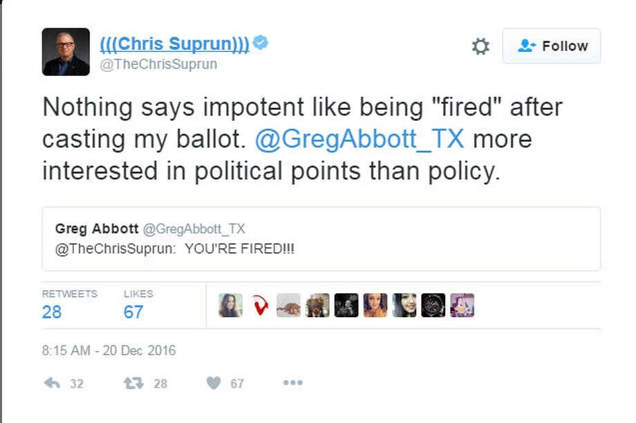 Twitter fightChris Suprun, a faithless elector from Texas, cast his ballot for Ohio Gov. John Kasich. He responded on Twitter to Texas Gov. Greg Abbott. Photo: Twitter