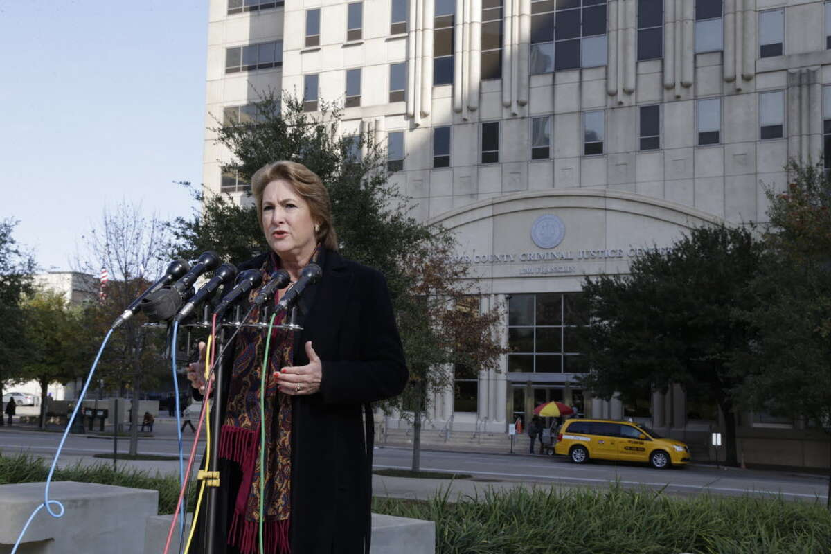 Harris County District Attorney-Elect Kim Ogg speaks during a press conference outside the Harris County Criminal Justice Center Dec. 20,2016 in Houston.
