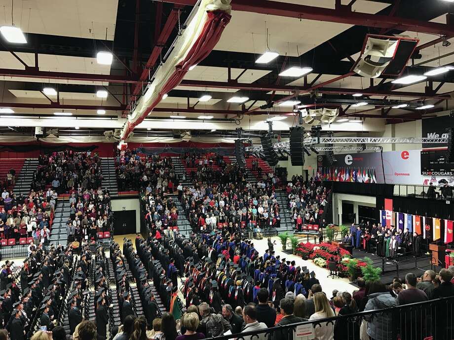 The Vadalabene Center was packed Saturday morning for SIUE's Fall Commencement. A total of 1,229 students received diplomas. It was the first commencement ceremony for SIUE Chancellor Randy Pembrook. Photo: Ross Sherman • For The Intelligencer