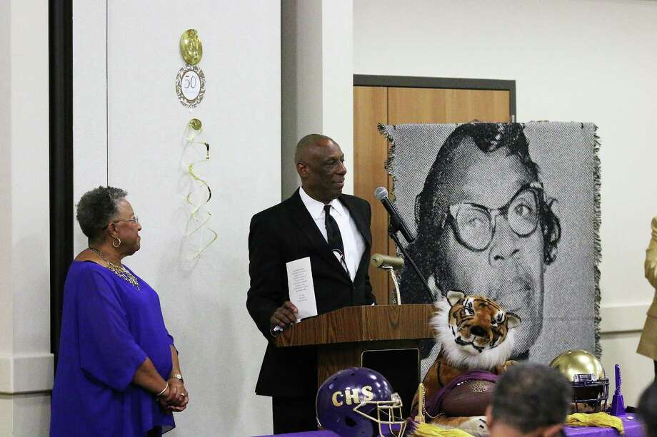 Brenda St. Julian-Trahan, left, and Rev. Dwight Pruitt served as the mistress and master of ceremonies for the 50th anniversary ceremony and dinner. Photo: David Taylor