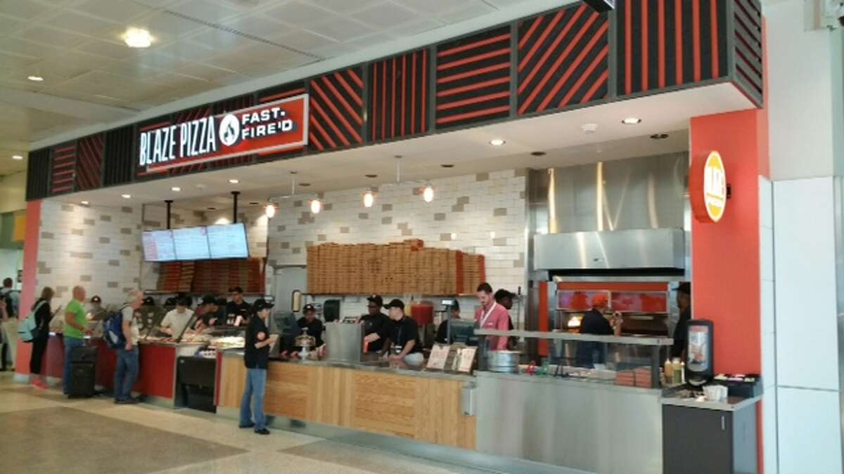 Blaze Pizza sells fast-fired pizzas costing between $5.50 and $8.40 in Terminal A at Bush Intercontinental Airport. Photos provided by the Houston Airport System.