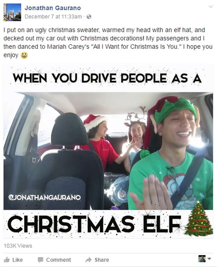 "Uber driver Jonathan Gaurano has been spreading hoilday cheer to Los Angeles drivers by singing Mariah Carey's ""All I want for Christmas is You"" with passengers.Image source: FacebookClick through the slideshow to learn things you didn't know about Christmas Photo: Jonathan Gaurano Via Facebook"