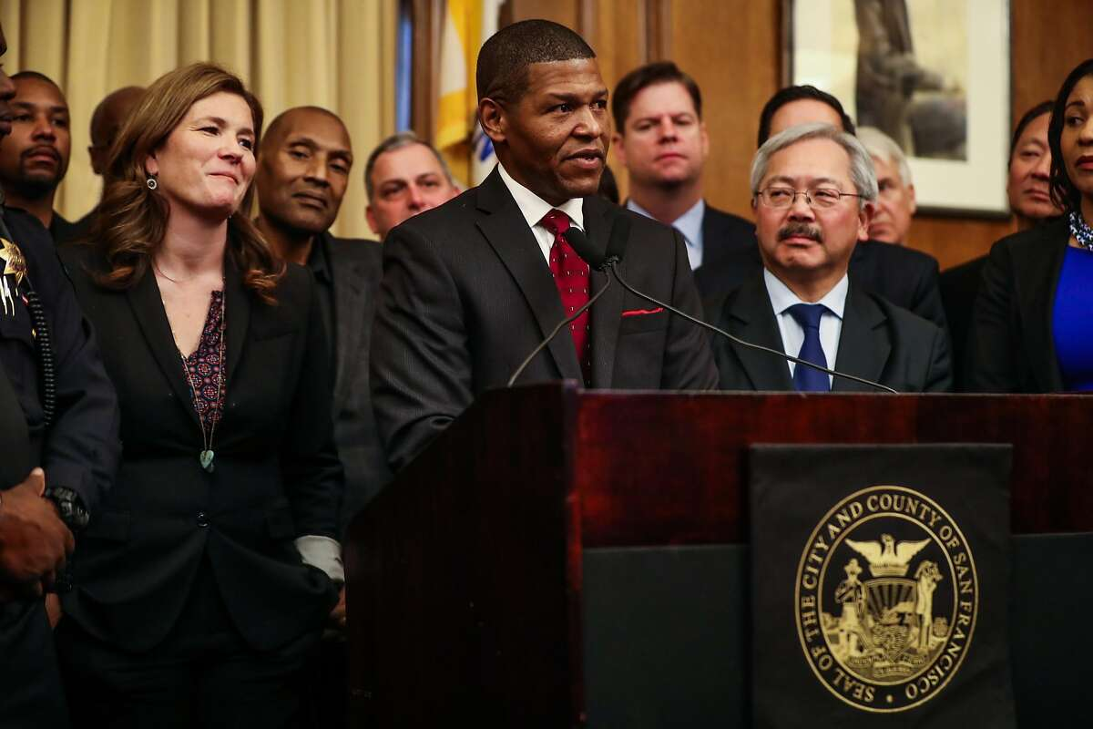 William Scott, a veteran Los Angeles deputy chief, speaks during a press conference which announced him as the new San Francisco police chief at City Hall, in San Francisco, Calif., on Tuesday, Dec. 20, 2016.