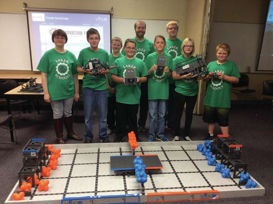 The Laker Junior High VEX Robotics teams — Laker Longships 6 and Laker Longships 7/8 — did very well at the recent VEX Robotics competition, and the Laker Longships 7/8 team qualified for the state competition in February. In the back are Coach Don Manchester and Logan Richmond. In the front are Becca Welther, Mason Steele, Tyler Hill, Charlie Csanyi, Alex Smith, Lindsey Steele and Brenden Chubb. (Submitted Photo)