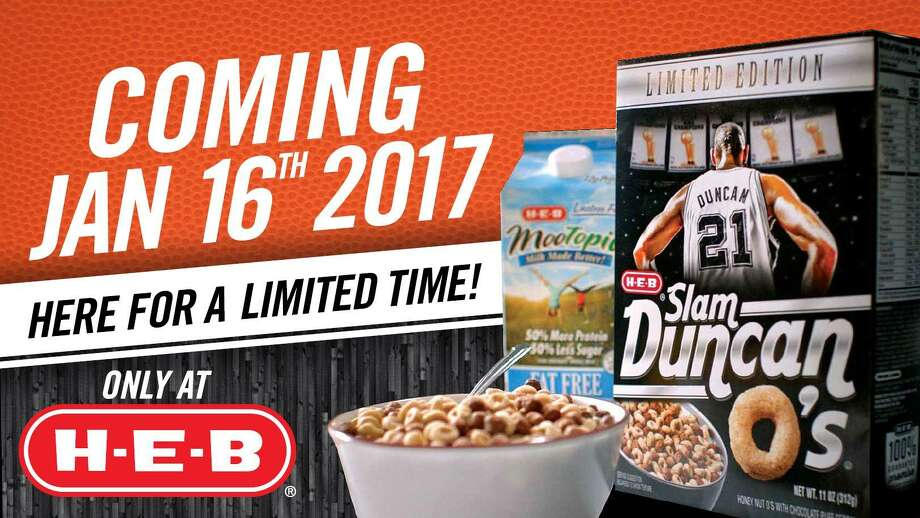 H-E-B plans to release a limited edition Tim Duncan-themed breakfast cereal Monday. Photo: Courtesy /H-E-B /Courtesy /H-E-B