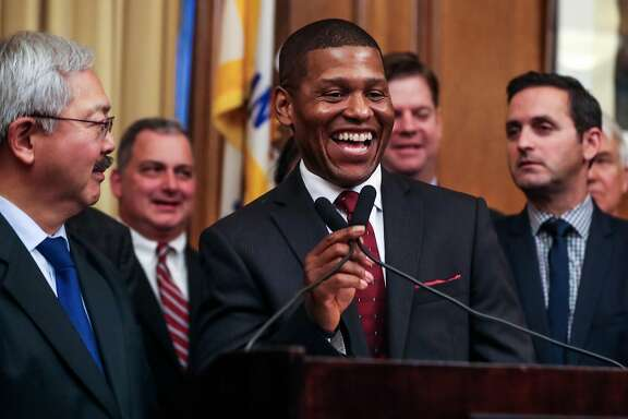 William Scott, a veteran Los Angeles deputy chief, laughs as he speaks during a press conference which announced him as the new San Francisco police chief at City Hall, in San Francisco, Calif., on Tuesday, Dec. 20, 2016.