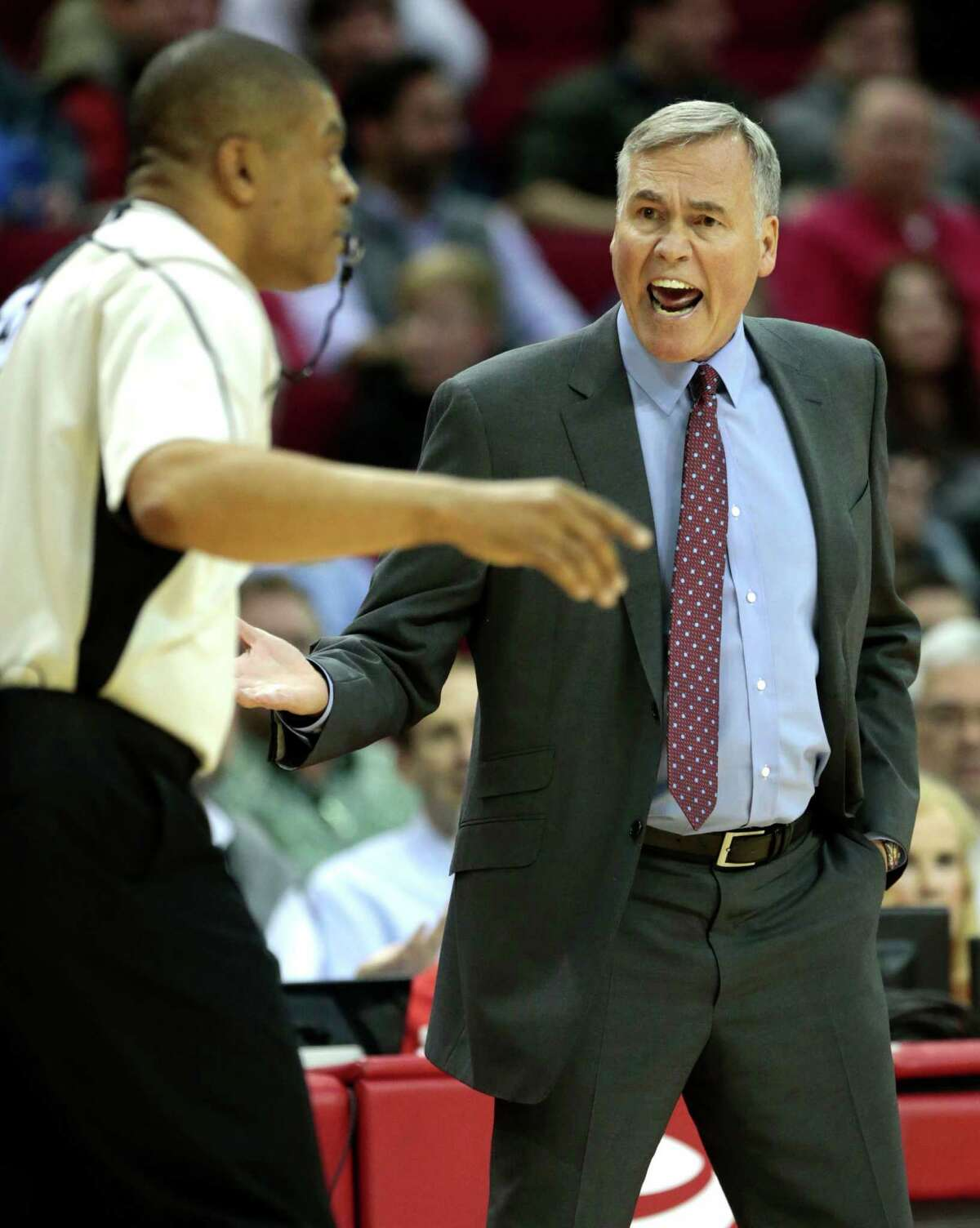 Houston Rockets head coach Mike D'Antoni argues a call during the second quarter of an NBA basketball game against the San Antonio Spurs at Toyota Center on Tuesday, Dec. 20, 2016, in Houston.
