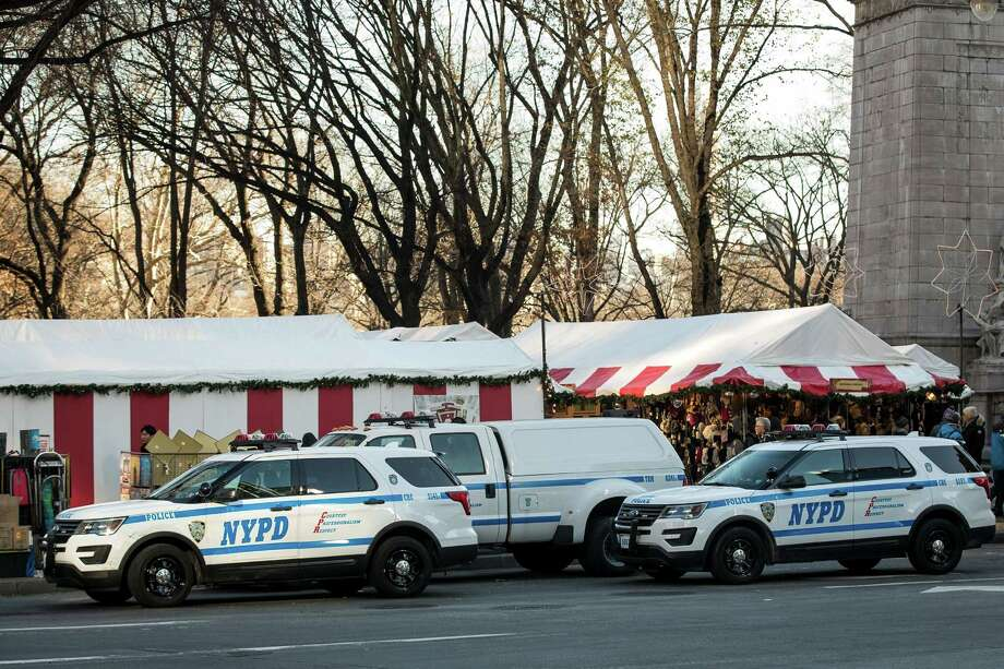 New York Ny December 20 City Police Vehicles Sit Parked Outside