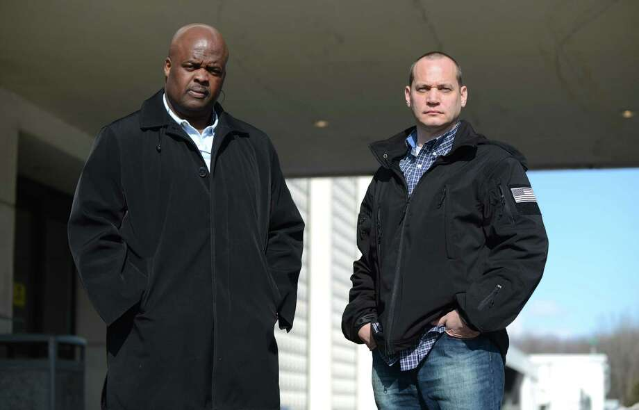 Former New York State Troopers, Noel Nelson, left, and Seamus Lyons, right, have filed a federal lawsuit claiming they were scapegoats in a missing evidence scandal that should have targeted another trooper. That trooper, Robert C. Bennett, who retired when the internal investigation began, was arrested Dec. 4 for breaking into the house of his estranged wife. State Police did not disclose the arrest. (Will Waldron/Times Union) Photo: WW