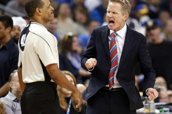 Golden State Warriors' head coach Steve Kerr reacts to a technical foul call on Draymond Green in 2nd quarter against Utah Jazz during NBA game at Oracle Arena in Oakland, Calif., on Tuesday, December 20, 2016.