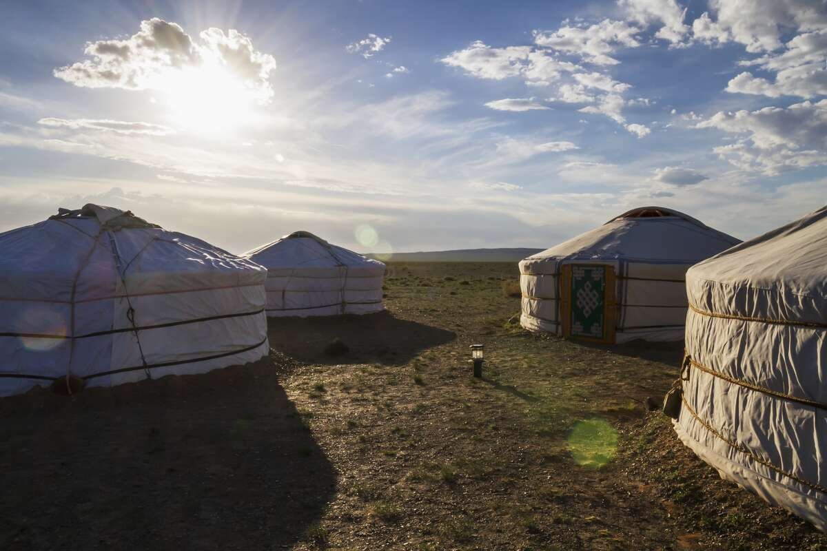 Mongolian Gers (yurts) tourist accommodation at the Gobi Discovery 2 Ger Camp, Gobi Gurvansaikhan National Park, Province, Mongolia