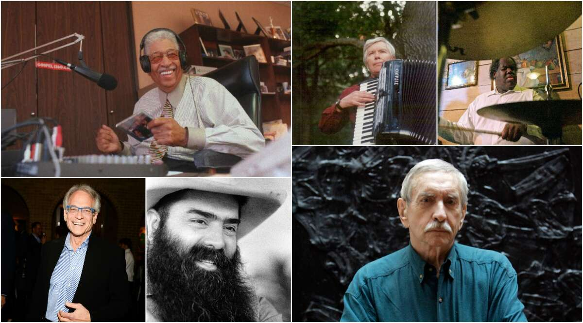 Notable Houston deaths of 2016 (so far), clockwise from top left: Gospel deejay Skipper Lee; composer Pauline Oliveros; jazz drummer Sebastian Whittaker; playwright Edward Albee; restaurateur Jim Goode; and Mickey Rosmarin, founder of Tootsies.