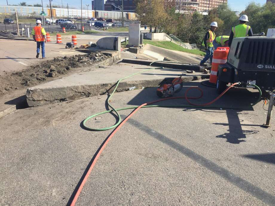 A concrete slab in the Interstate 45 HOv lane into downtown Houston buckled, closing the ramp and the entrance to Interstate 10 from Louisiana on Dec. 19. Photo: Danny Perez,  Texas Department Of Transportation