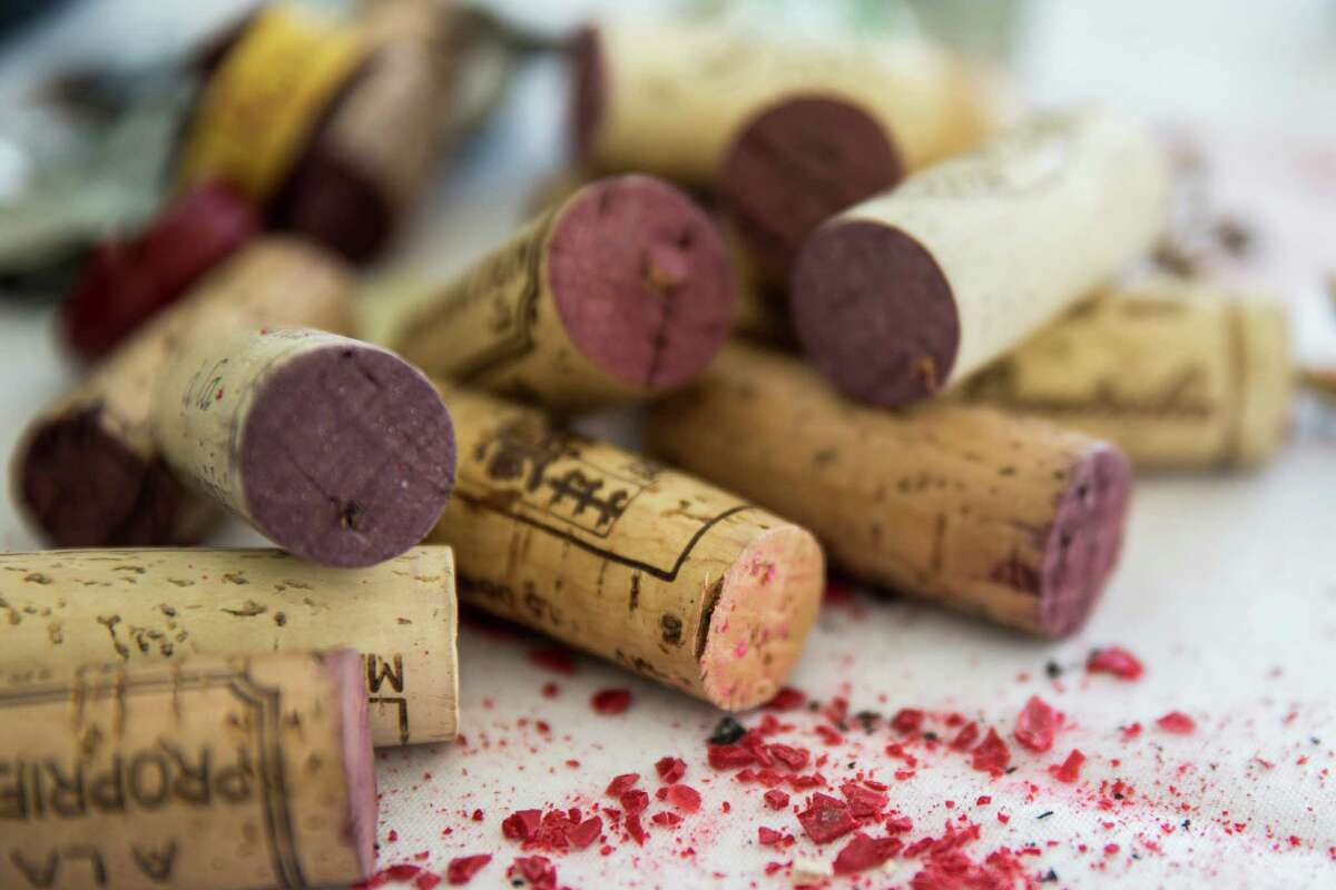 Beaujolais wine corks in New York, March 9, 2016. The wine panel tasted Morgon and Fleurie wines from the 2014 vintage. (Tony Cenicola/The New York Times) ORG XMIT: XNYT90