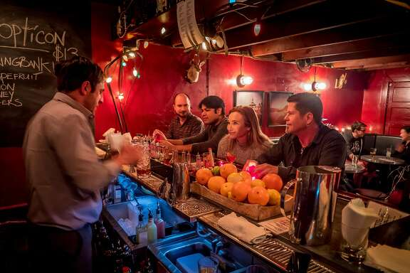 Bartender David Curiel makes cocktails in  the Hideout inside of Dalva in San Francisco, Calif. is seen on December 20th, 2016.