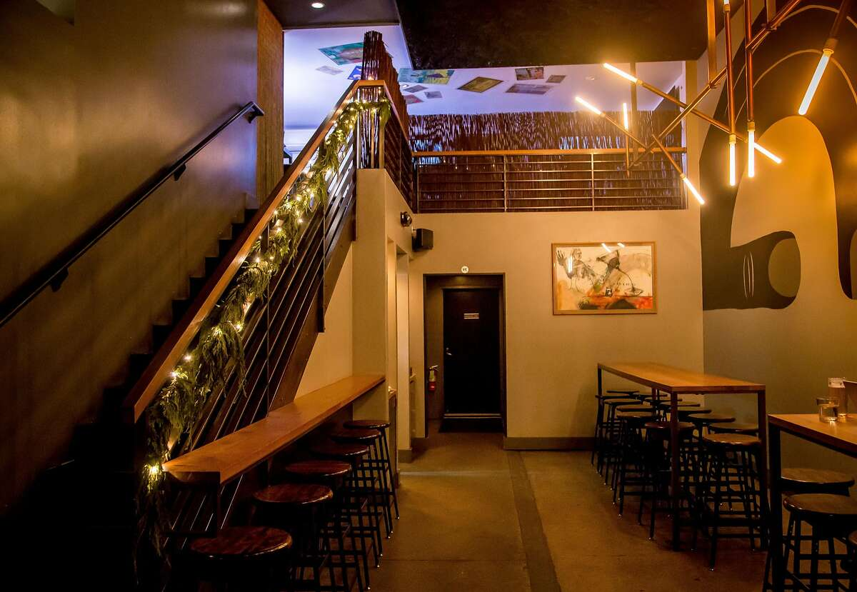 The stairs to Over Proof inside of ABV in San Francisco, Calif. is seen on December 20th, 2016.