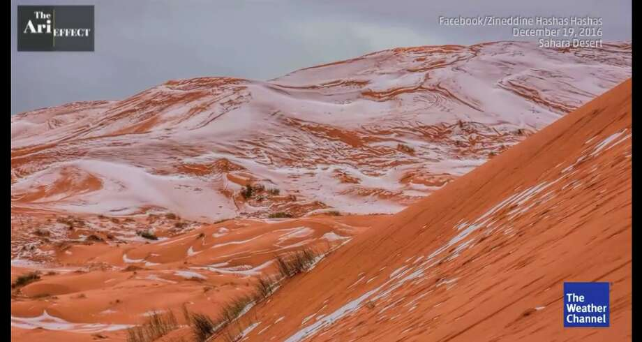 Snow covers the sand dunes of the Sahara in Algeria.Click ahead to learn about the weirdest, most interesting weather colloquialisms you hear in different regions. Photo: Weather Channel/Screenshot