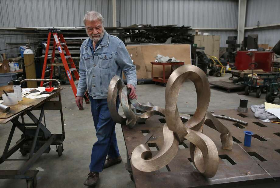 Sculpture artist Bruce Beasley in a warehouse he designed and built near his home. Photo: Leah Millis, The Chronicle