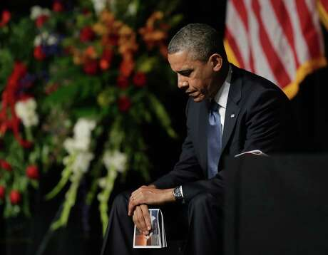 President Barack Obama attends a memorial for firefighters killed at the fertilizer plant explosion in West, Texas, at Baylor University in Waco, Texas, Thursday, April 25, 2013.(AP Photo/Eric Gay)